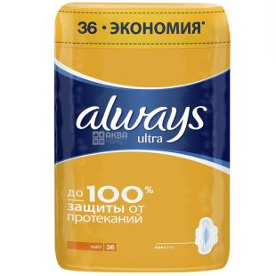Always, 36 шт., прокладки гігієнічні, Ultra Light Quadro, м/у