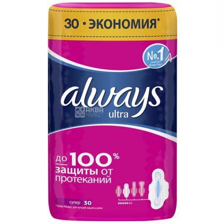 Always, 30 шт., прокладки гигиенические, Ultra Super, ароматизированные, м/у