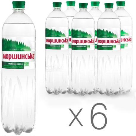 Моршинская, Упаковка 6 шт. по 1,5 л, Вода слабогазированная, ПЭТ