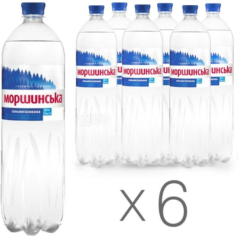 Моршинская, Упаковка 6 шт. по 1,5 л, Вода сильногазированная, ПЭТ