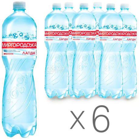 Миргородська, Упаковка 6 шт. по 1,5 л, Вода негазована, Мінеральна, Лагідна, ПЕТ, ПЕТ
