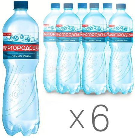 Миргородская, Упаковка 6 шт. по 1,5 л, Вода сильногазированная, Минеральная, ПЭТ