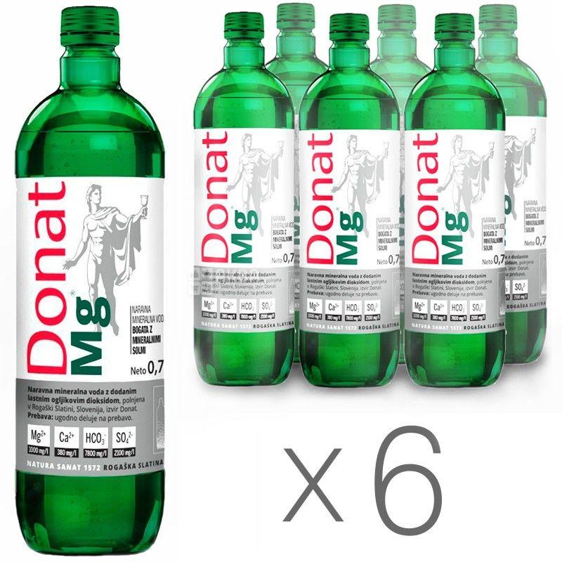 Donat Mg, Упаковка 6 шт. по 0,75 л, Вода сильногазированная, Минеральная, стекло