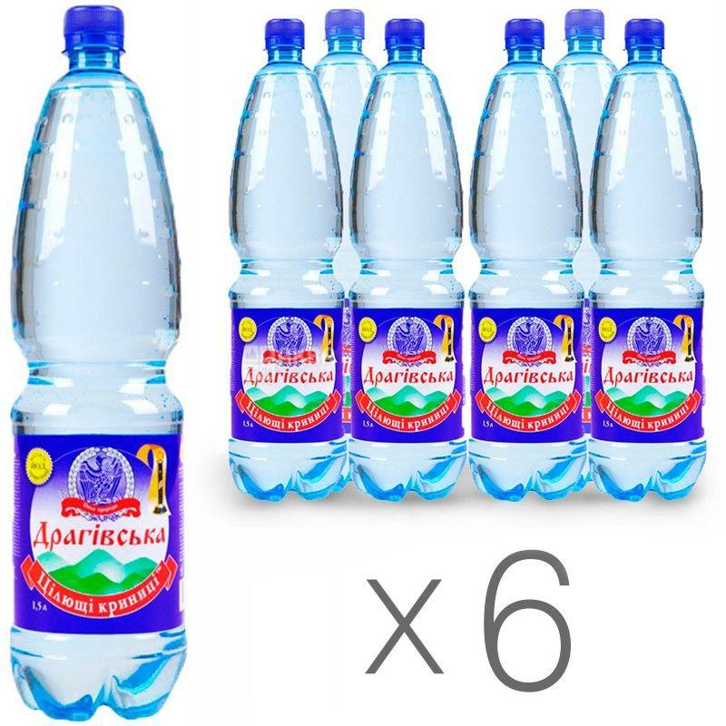 Драгівське, 1,5 л, Упаковка 6 шт., Вода мінеральна газована, ПЕТ