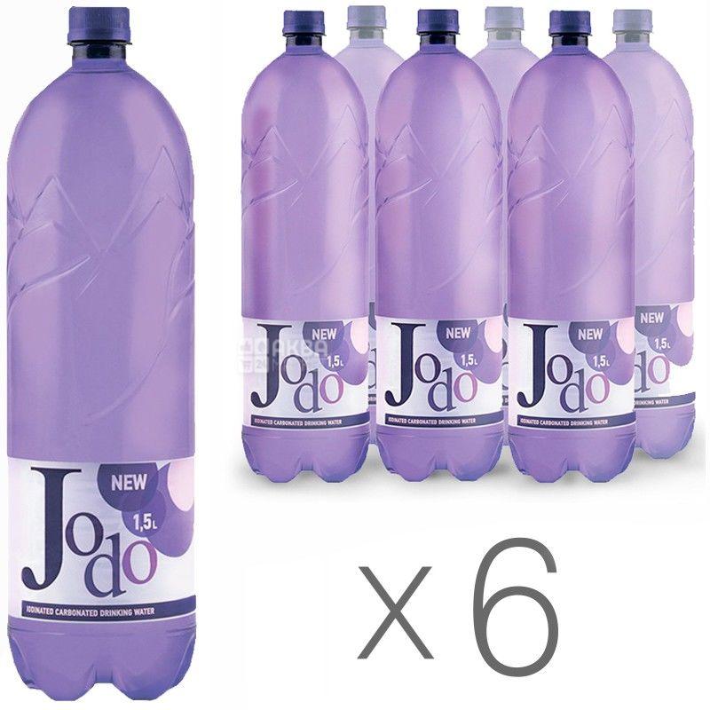 Йодо, упаковка 6 шт. по 1,5 л, сильногазированная вода, ПЭТ