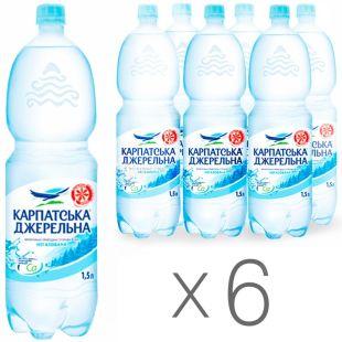 Карпатська Джерельна, 1,5 л, упаковка 6 шт., Вода минеральная негазированная, ПЭТ