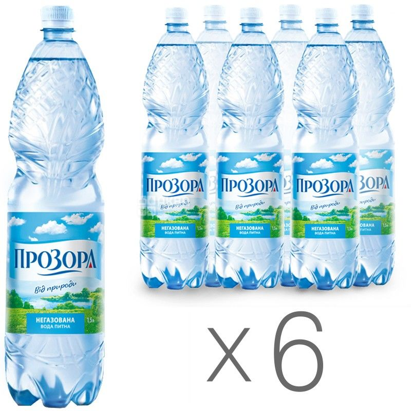 Прозора, Вода минеральная негазированная, 1,5 л, Упаковка 6 шт.