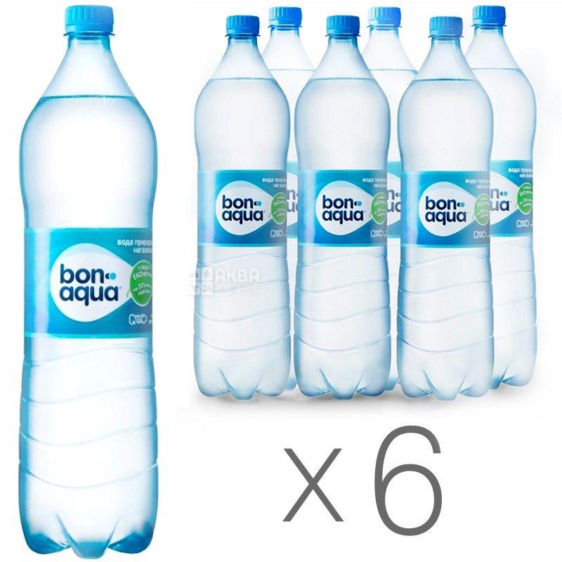 BonAqua, 1,5 л, Упаковка 6 шт., БонАква, Вода мінеральна негазована, ПЕТ