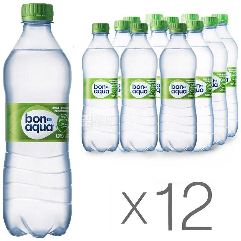 BonAqua, 0,5 л, Упаковка 12 шт., БонАква, Вода минеральная слабогазированная, ПЭТ