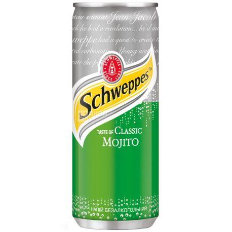 Schweppes, Classic Mojito, 0,33 л, Швепс, Классический Мохито, Вода сладкая, с соком лайма, ж/б
