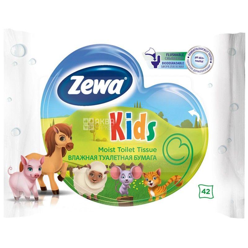 Zewa Kids, 42 листа, Туалетная бумага Зева Кидс, для детей, Влажная