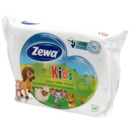 Zewa Kids, 42 аркуші, Вологий туалетний папір Зева Кідс