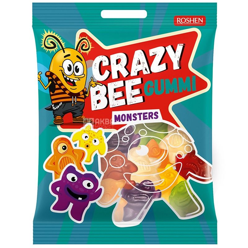 Roshen, 100 г, конфеты желейные, Crazy Bee, Монстры, м/у