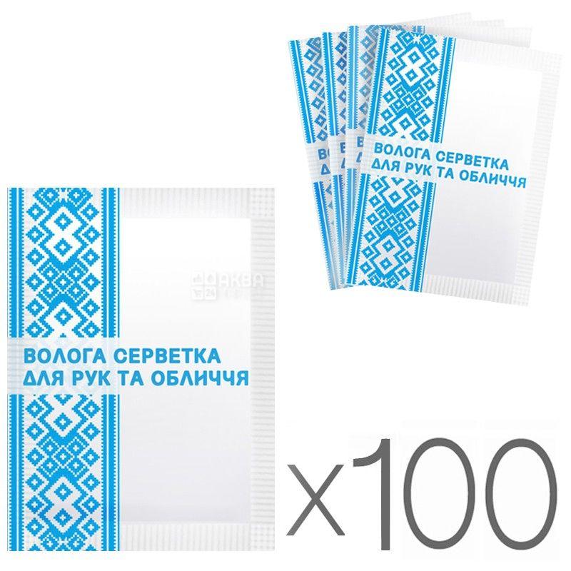 Аквамаркет, 100 шт., Салфетки влажные, Для рук и лица