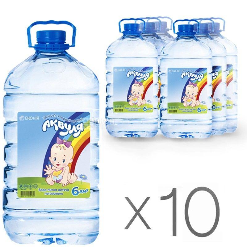 Аквуля, 6 л, Упаковка 10 шт., Вода детская негазированная, с первых дней жизни, ПЭТ