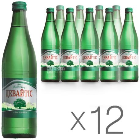 Девайтис, Упаковка 12 шт. по 0,5 л, слабогазированная вода, стекло