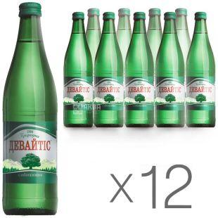 Девайтис, 0,5 л, Упаковка 12 шт., Вода минеральная слабогазированная, стекло