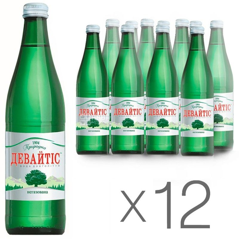 Девайтіс, 0,5 л, Упаковка 12 шт., Вода мінеральна негазована, скло