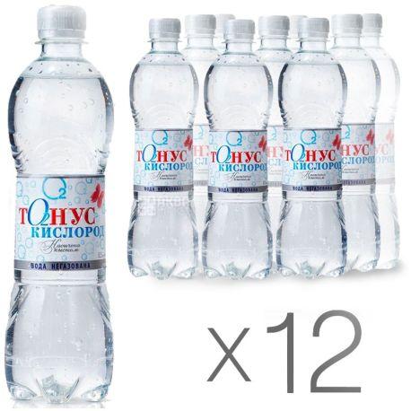 Куяльник Тонус-Кисень, 0,5 л, Упаковка 12 шт., Вода мінеральна негазована, ПЕТ