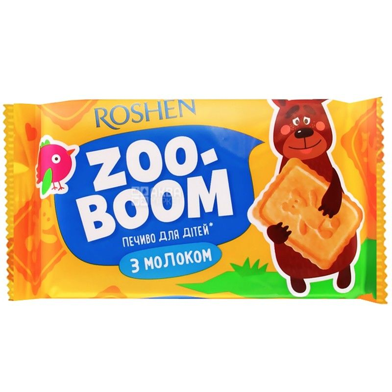 Roshen, 68 г, печиво, Zoo-Boom, З молоком, Для дітей, м/у