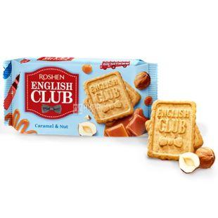 Roshen, 112 г, печиво, English Club, З карамеллю і горіхом, м/у