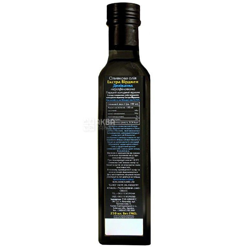 Ellada, 250 мл, Масло оливковое, Delicate, Extra Virgin, стекло