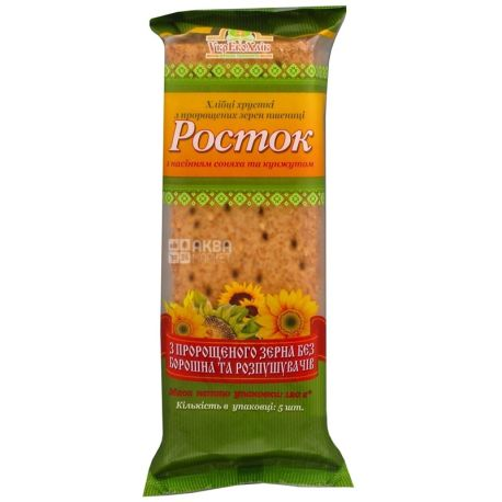 Росток, 120 г, хлібці, З пророщених зерен пшениці, З насінням соняшника, м/у