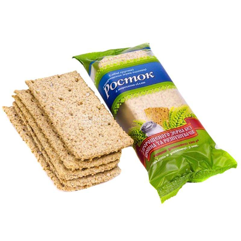 Росток, 120 г, хлебцы, Из проросших зерен пшеницы, С морской солью, м/у