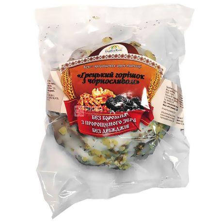 УкрЕкоХліб, 200 г, кекс, З пророслої пшениці, Грецький горішок з чорносливом, м/у