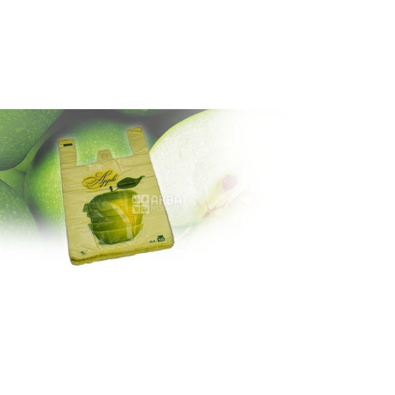 Пакет майка, 50 шт., Зеленое яблоко, м/у