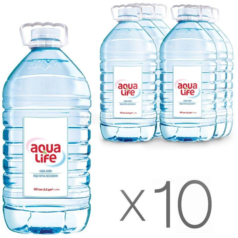 AquaLife, Упаковка 10 шт. по 6 л, Вода негазована вода, ПЕТ, ПЕТ