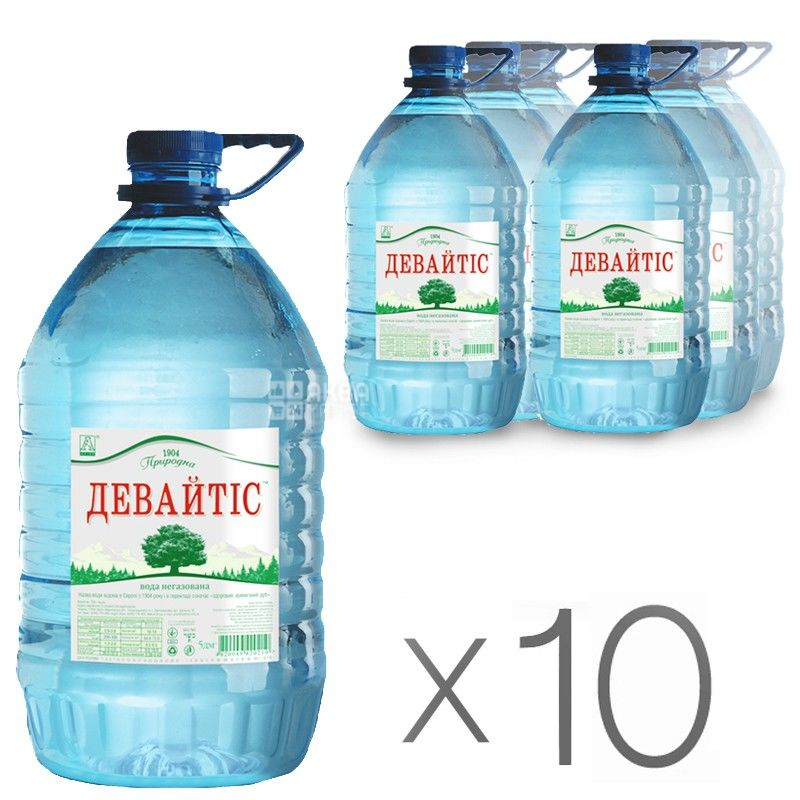 Девайтис, 5 л, Упаковка 10 шт., Вода минеральная негазированная, ПЭТ