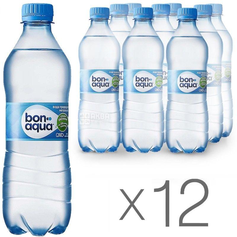 BonAqua, 0,5 л, Упаковка 12 шт., БонАква, Вода минеральная негазированная, ПЭТ