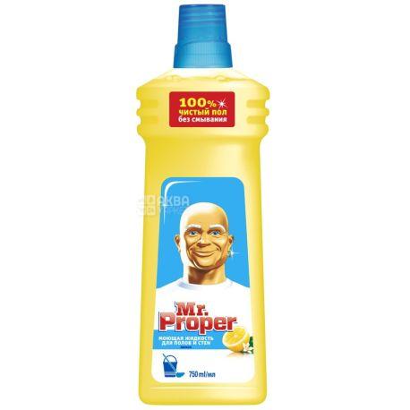 Mr. Proper, 750 мл, средство для мытья полов и стен, Лимон, ПЭТ