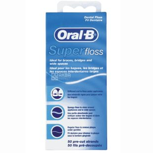 Oral-B, 50 м, зубна нитка, Super Floss