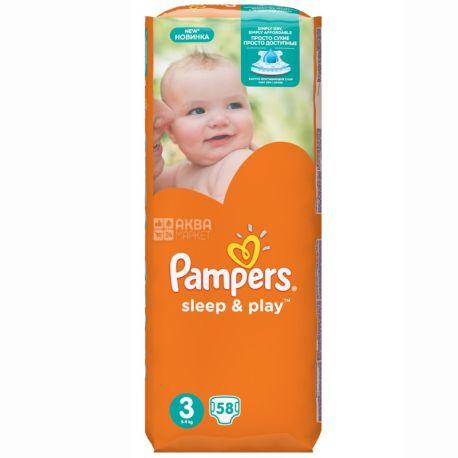 Pampers, 58 шт. 4-9 кг, підгузки, Sleep & Play, Medium