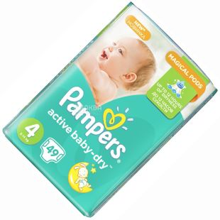 Pampers, 4+ / 62 pcs. 9-16 kg, diapers, Active Baby Jumbo Pack