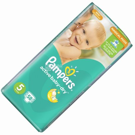 Pampers, 5/58 pcs. 11-18 kg, diapers, Active Baby Dry