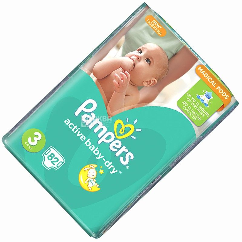 Pampers, 3 / 82 шт. 4-9 кг, пігузники, Active Baby Midi