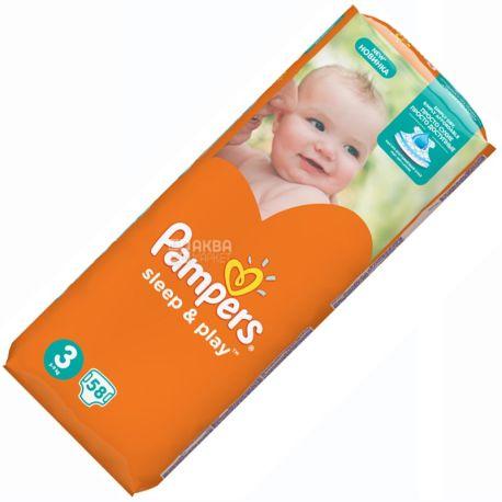 Pampers,  58 шт., 4-9 кг, подгузники, Sleep & Play, Medium