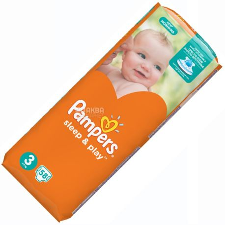 Pampers Sleep & Play, Medium, 58 шт., Памперс, Подгузники, Размер 3, 4-9 кг
