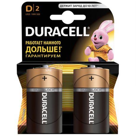 Duracell, 2 шт., D, батарейки, м/у