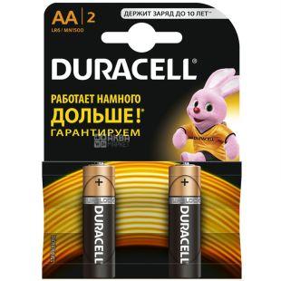 Duracell, 2 pcs., AA, batteries, m / y