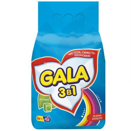 Gala, 3 kg, washing powder, Automatic, Bright colors