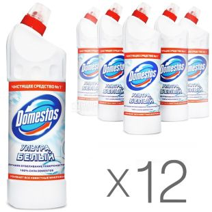 Domestos, 1l, pack of 12 pcs., Toilet cleaner, Ultra white, PET