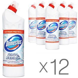 Domestos, Средство для чистки унитаза, Ультра белый, 1 л, Упаковка 12 шт.