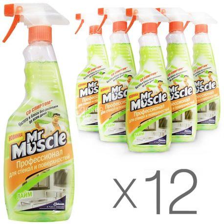 Mr. Muscle, Средство для мытья стекол, Лайм, 500 мл, упаковка 12 шт.