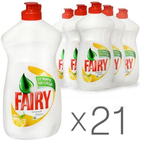Fairy, упаковка 21 шт. по 500 мл, средство для мытья посуды, Сочный Лимон, ПЭТ