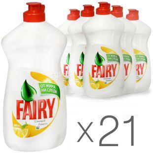 Fairy, упаковка 21 шт. по 500 мл, засіб для миття посуду, Соковитий Лимон, ПЕТ