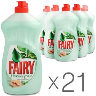 Fairy, pack of 21 pcs. 500 ml, dishwashing detergent, Tea tree and Mint, PET